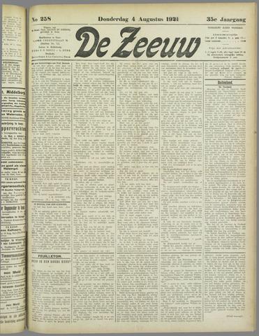 De Zeeuw. Christelijk-historisch nieuwsblad voor Zeeland 1921-08-04