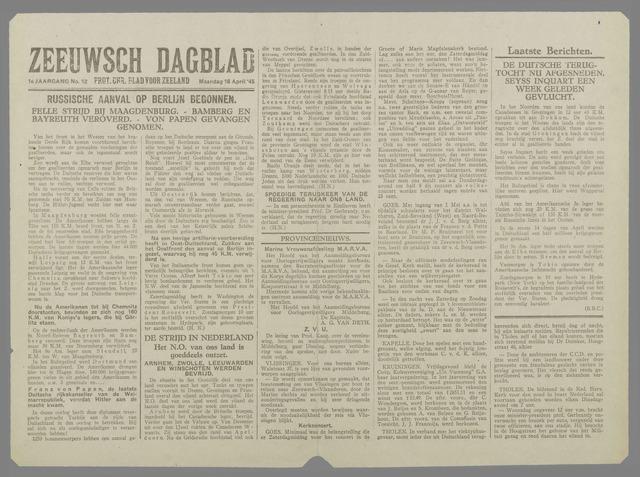 Zeeuwsch Dagblad 1945-04-16