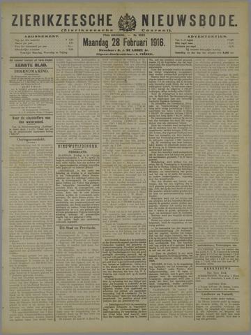 Zierikzeesche Nieuwsbode 1916-02-28