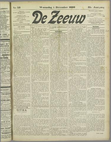 De Zeeuw. Christelijk-historisch nieuwsblad voor Zeeland 1920-12-01