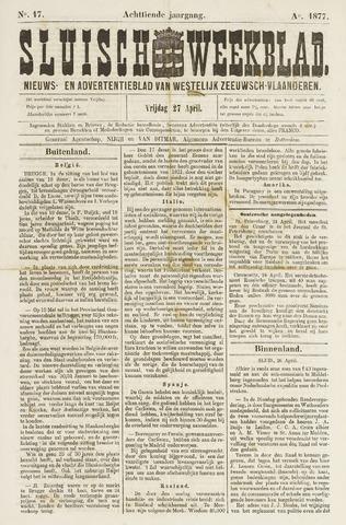 Sluisch Weekblad. Nieuws- en advertentieblad voor Westelijk Zeeuwsch-Vlaanderen 1877-04-27