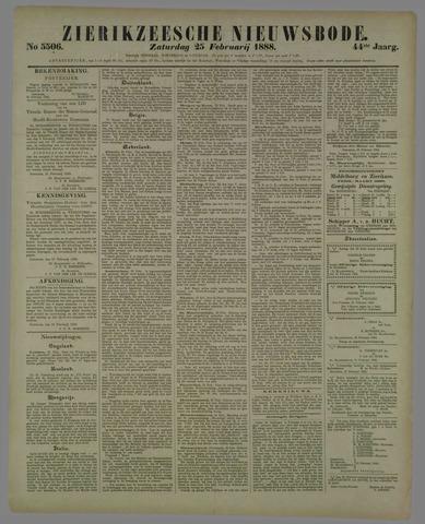 Zierikzeesche Nieuwsbode 1888-02-25