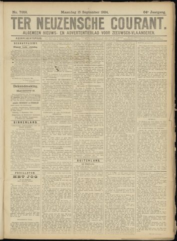 Ter Neuzensche Courant. Algemeen Nieuws- en Advertentieblad voor Zeeuwsch-Vlaanderen / Neuzensche Courant ... (idem) / (Algemeen) nieuws en advertentieblad voor Zeeuwsch-Vlaanderen 1924-09-15