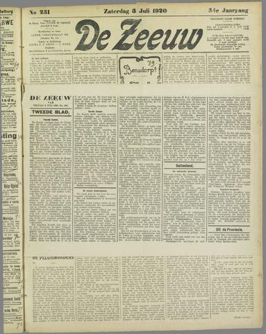 De Zeeuw. Christelijk-historisch nieuwsblad voor Zeeland 1920-07-03