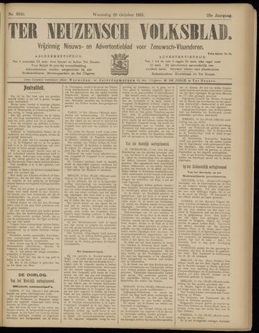 Ter Neuzensch Volksblad. Vrijzinnig nieuws- en advertentieblad voor Zeeuwsch- Vlaanderen / Zeeuwsch Nieuwsblad. Nieuws- en advertentieblad voor Zeeland 1915-10-20