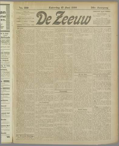 De Zeeuw. Christelijk-historisch nieuwsblad voor Zeeland 1916-06-17