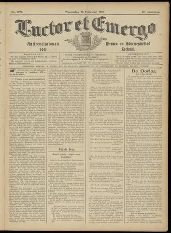 Luctor et Emergo. Antirevolutionair nieuws- en advertentieblad voor Zeeland / Zeeuwsch-Vlaanderen. Orgaan ter verspreiding van de christelijke beginselen in Zeeuwsch-Vlaanderen 1915-02-10