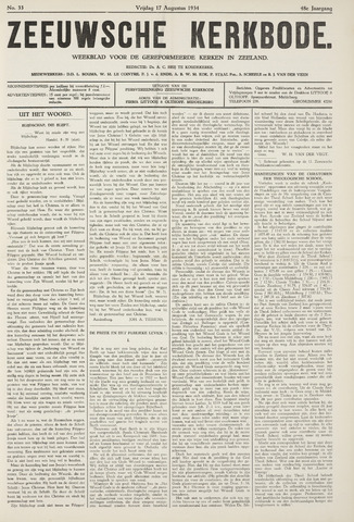 Zeeuwsche kerkbode, weekblad gewijd aan de belangen der gereformeerde kerken/ Zeeuwsch kerkblad 1934-08-17