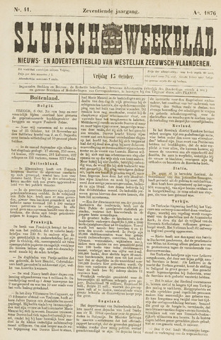 Sluisch Weekblad. Nieuws- en advertentieblad voor Westelijk Zeeuwsch-Vlaanderen 1876-10-13