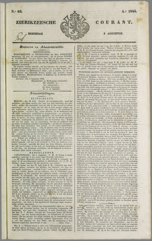 Zierikzeesche Courant 1844-08-06