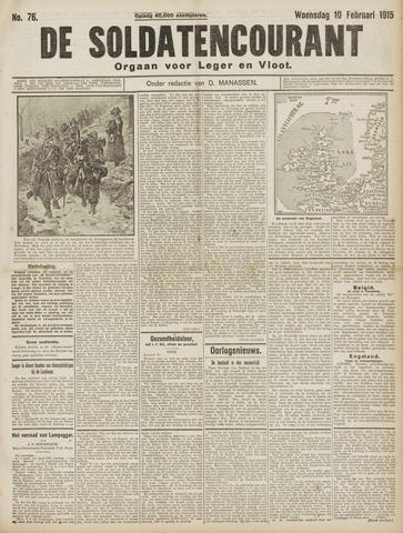 De Soldatencourant. Orgaan voor Leger en Vloot 1915-02-10