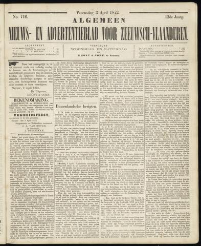 Ter Neuzensche Courant. Algemeen Nieuws- en Advertentieblad voor Zeeuwsch-Vlaanderen / Neuzensche Courant ... (idem) / (Algemeen) nieuws en advertentieblad voor Zeeuwsch-Vlaanderen 1872-04-03