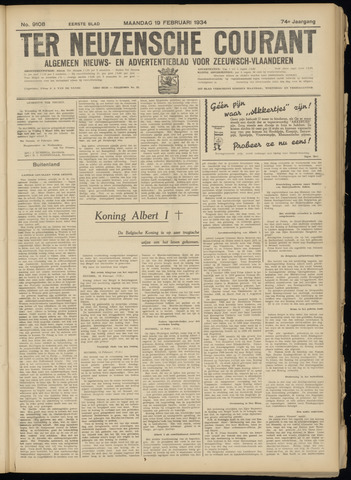 Ter Neuzensche Courant. Algemeen Nieuws- en Advertentieblad voor Zeeuwsch-Vlaanderen / Neuzensche Courant ... (idem) / (Algemeen) nieuws en advertentieblad voor Zeeuwsch-Vlaanderen 1934-02-19