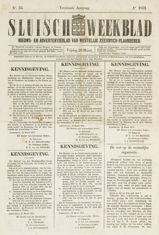 Sluisch Weekblad. Nieuws- en advertentieblad voor Westelijk Zeeuwsch-Vlaanderen 1873-03-28