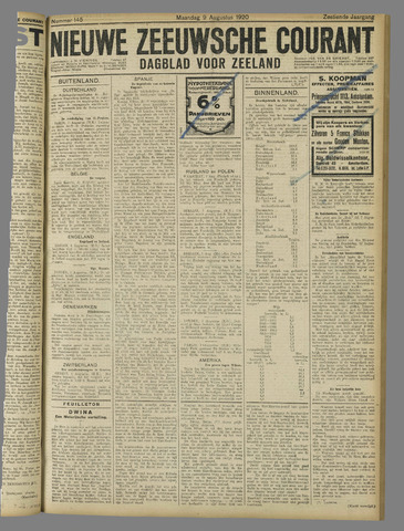 Nieuwe Zeeuwsche Courant 1920-08-09
