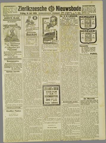 Zierikzeesche Nieuwsbode 1926-07-16
