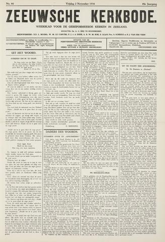 Zeeuwsche kerkbode, weekblad gewijd aan de belangen der gereformeerde kerken/ Zeeuwsch kerkblad 1934-11-02