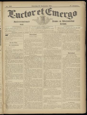 Luctor et Emergo. Antirevolutionair nieuws- en advertentieblad voor Zeeland / Zeeuwsch-Vlaanderen. Orgaan ter verspreiding van de christelijke beginselen in Zeeuwsch-Vlaanderen 1916-09-23