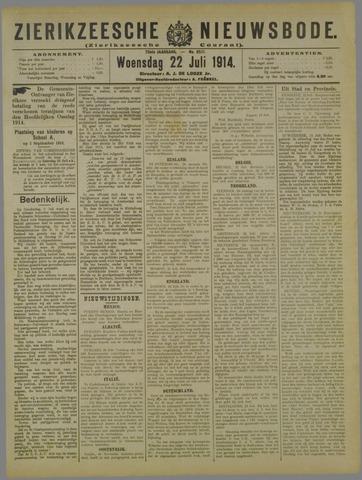 Zierikzeesche Nieuwsbode 1914-07-22