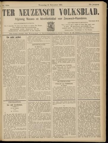 Ter Neuzensch Volksblad. Vrijzinnig nieuws- en advertentieblad voor Zeeuwsch- Vlaanderen / Zeeuwsch Nieuwsblad. Nieuws- en advertentieblad voor Zeeland 1911-11-15