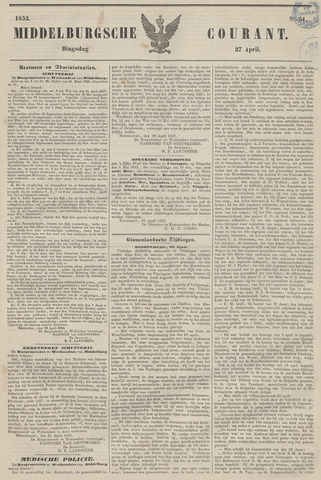 Middelburgsche Courant 1852-04-27