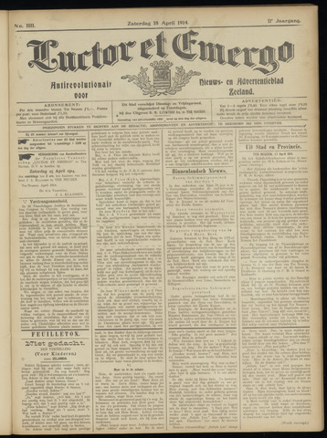 Luctor et Emergo. Antirevolutionair nieuws- en advertentieblad voor Zeeland / Zeeuwsch-Vlaanderen. Orgaan ter verspreiding van de christelijke beginselen in Zeeuwsch-Vlaanderen 1914-04-18