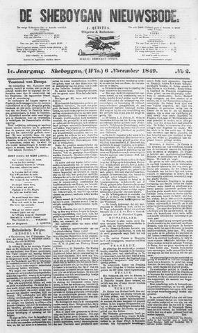 Sheboygan Nieuwsbode 1849-11-06