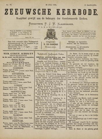 Zeeuwsche kerkbode, weekblad gewijd aan de belangen der gereformeerde kerken/ Zeeuwsch kerkblad 1888-07-28