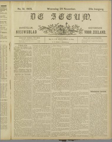 De Zeeuw. Christelijk-historisch nieuwsblad voor Zeeland 1905-11-29