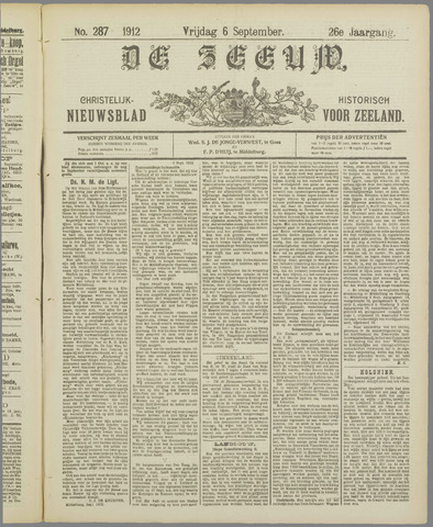 De Zeeuw. Christelijk-historisch nieuwsblad voor Zeeland 1912-09-06