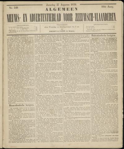 Ter Neuzensche Courant. Algemeen Nieuws- en Advertentieblad voor Zeeuwsch-Vlaanderen / Neuzensche Courant ... (idem) / (Algemeen) nieuws en advertentieblad voor Zeeuwsch-Vlaanderen 1870-08-27