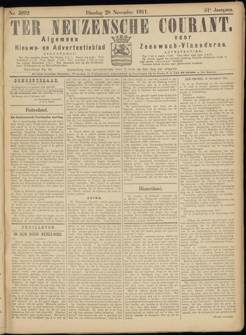 Ter Neuzensche Courant. Algemeen Nieuws- en Advertentieblad voor Zeeuwsch-Vlaanderen / Neuzensche Courant ... (idem) / (Algemeen) nieuws en advertentieblad voor Zeeuwsch-Vlaanderen 1911-11-28