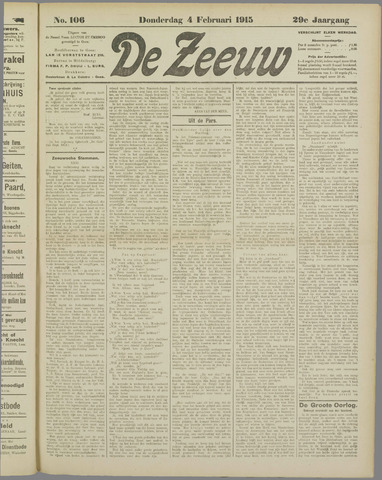 De Zeeuw. Christelijk-historisch nieuwsblad voor Zeeland 1915-02-04