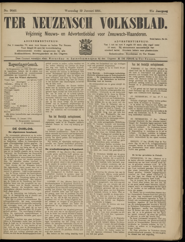Ter Neuzensch Volksblad. Vrijzinnig nieuws- en advertentieblad voor Zeeuwsch- Vlaanderen / Zeeuwsch Nieuwsblad. Nieuws- en advertentieblad voor Zeeland 1916-01-19