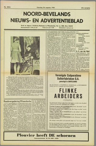 Noord-Bevelands Nieuws- en advertentieblad 1961-08-26