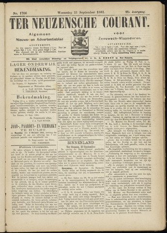 Ter Neuzensche Courant. Algemeen Nieuws- en Advertentieblad voor Zeeuwsch-Vlaanderen / Neuzensche Courant ... (idem) / (Algemeen) nieuws en advertentieblad voor Zeeuwsch-Vlaanderen 1881-09-21