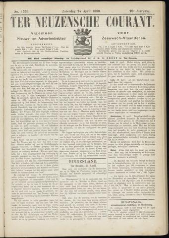 Ter Neuzensche Courant. Algemeen Nieuws- en Advertentieblad voor Zeeuwsch-Vlaanderen / Neuzensche Courant ... (idem) / (Algemeen) nieuws en advertentieblad voor Zeeuwsch-Vlaanderen 1880-04-24
