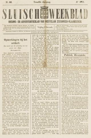 Sluisch Weekblad. Nieuws- en advertentieblad voor Westelijk Zeeuwsch-Vlaanderen 1871-12-01