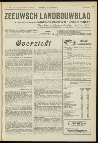 Zeeuwsch landbouwblad ... ZLM land- en tuinbouwblad 1951-07-14