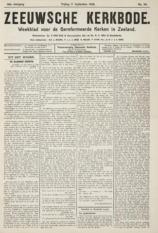 Zeeuwsche kerkbode, weekblad gewijd aan de belangen der gereformeerde kerken/ Zeeuwsch kerkblad 1926-09-17