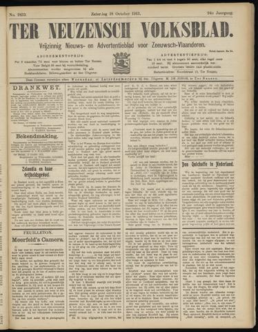 Ter Neuzensch Volksblad. Vrijzinnig nieuws- en advertentieblad voor Zeeuwsch- Vlaanderen / Zeeuwsch Nieuwsblad. Nieuws- en advertentieblad voor Zeeland 1913-10-18