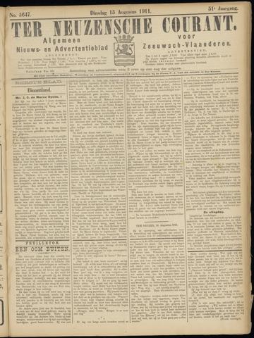 Ter Neuzensche Courant. Algemeen Nieuws- en Advertentieblad voor Zeeuwsch-Vlaanderen / Neuzensche Courant ... (idem) / (Algemeen) nieuws en advertentieblad voor Zeeuwsch-Vlaanderen 1911-08-15