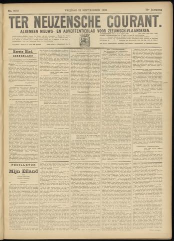 Ter Neuzensche Courant. Algemeen Nieuws- en Advertentieblad voor Zeeuwsch-Vlaanderen / Neuzensche Courant ... (idem) / (Algemeen) nieuws en advertentieblad voor Zeeuwsch-Vlaanderen 1933-09-22