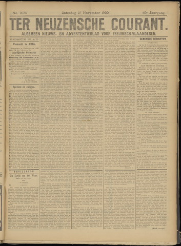 Ter Neuzensche Courant. Algemeen Nieuws- en Advertentieblad voor Zeeuwsch-Vlaanderen / Neuzensche Courant ... (idem) / (Algemeen) nieuws en advertentieblad voor Zeeuwsch-Vlaanderen 1920-11-27