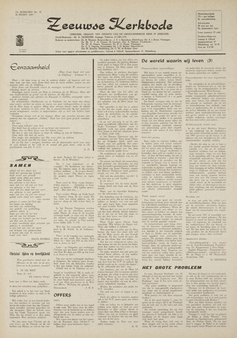 Zeeuwsche kerkbode, weekblad gewijd aan de belangen der gereformeerde kerken/ Zeeuwsch kerkblad 1969-03-20