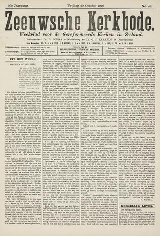 Zeeuwsche kerkbode, weekblad gewijd aan de belangen der gereformeerde kerken/ Zeeuwsch kerkblad 1916-10-20