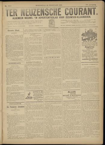 Ter Neuzensche Courant. Algemeen Nieuws- en Advertentieblad voor Zeeuwsch-Vlaanderen / Neuzensche Courant ... (idem) / (Algemeen) nieuws en advertentieblad voor Zeeuwsch-Vlaanderen 1931-02-25