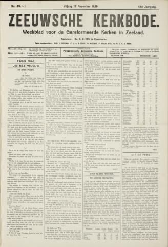 Zeeuwsche kerkbode, weekblad gewijd aan de belangen der gereformeerde kerken/ Zeeuwsch kerkblad 1929-11-15