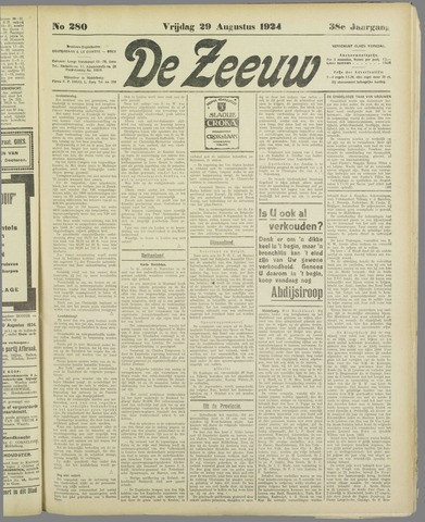 De Zeeuw. Christelijk-historisch nieuwsblad voor Zeeland 1924-08-29