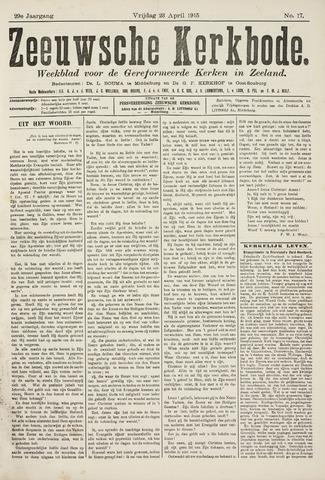 Zeeuwsche kerkbode, weekblad gewijd aan de belangen der gereformeerde kerken/ Zeeuwsch kerkblad 1915-04-23